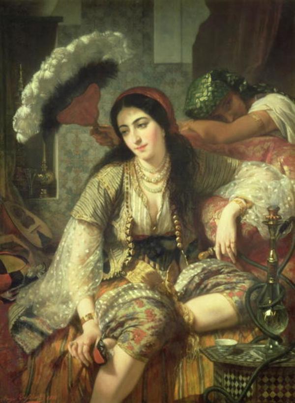 LOINTAINS ANGE TISSIER L ODALISQUE OU L ALGERIENNE ET SON ESCLAVE 1860