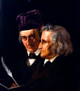 GRIMM Wilhelm à gauche Jacob à droite Elisabeth Jerichau-Baumann,