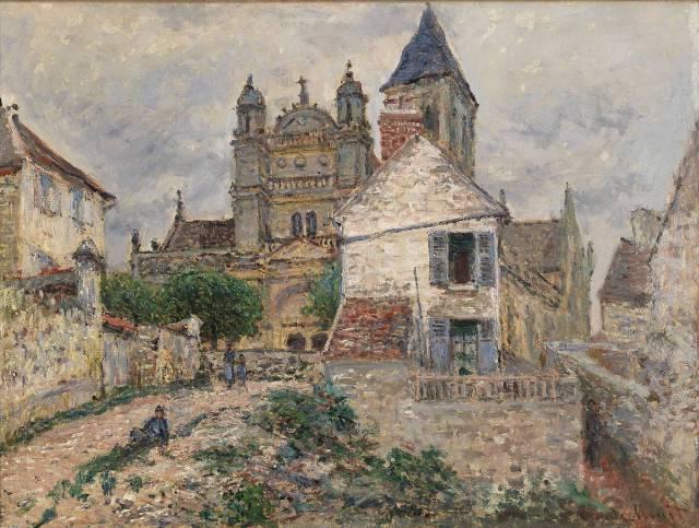 village scene with church oil on canvas