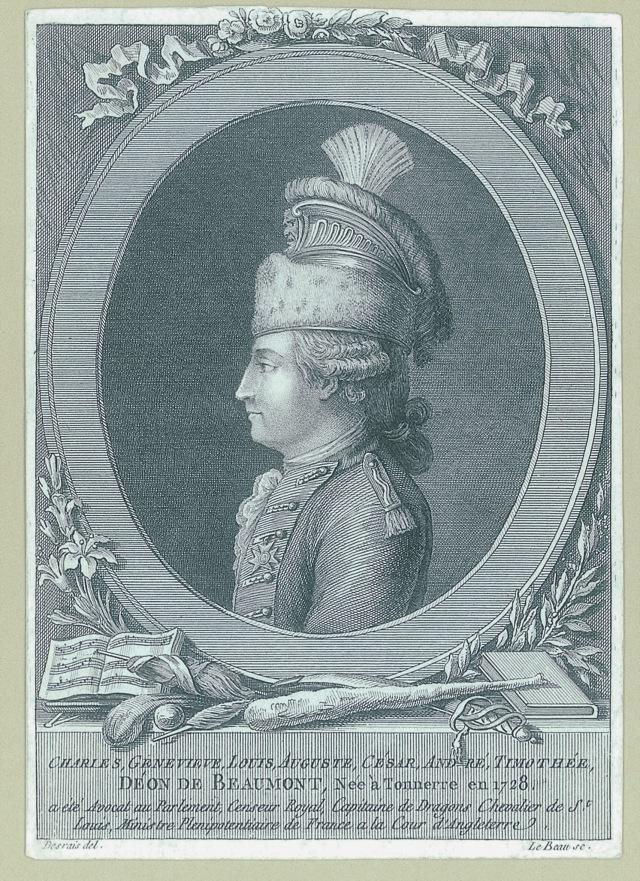 chevalier d'EON Pierre-Adrien LE BEAU d'après Claude-Louis DESRAIS Lyon Bibliothèque municipal
