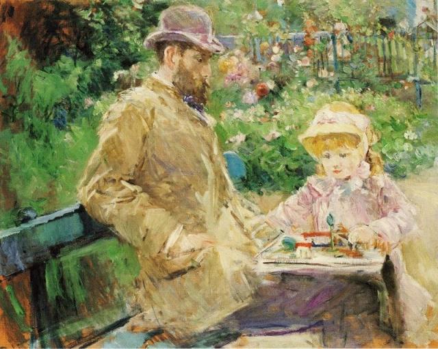 MORISOT Eugène et Julie dans le jardin de Bougival.jpg