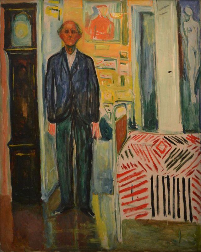 MUNCH Edvard autoportrait 1940 43 Entre l'horloge et le lit musée Munch à Oslo