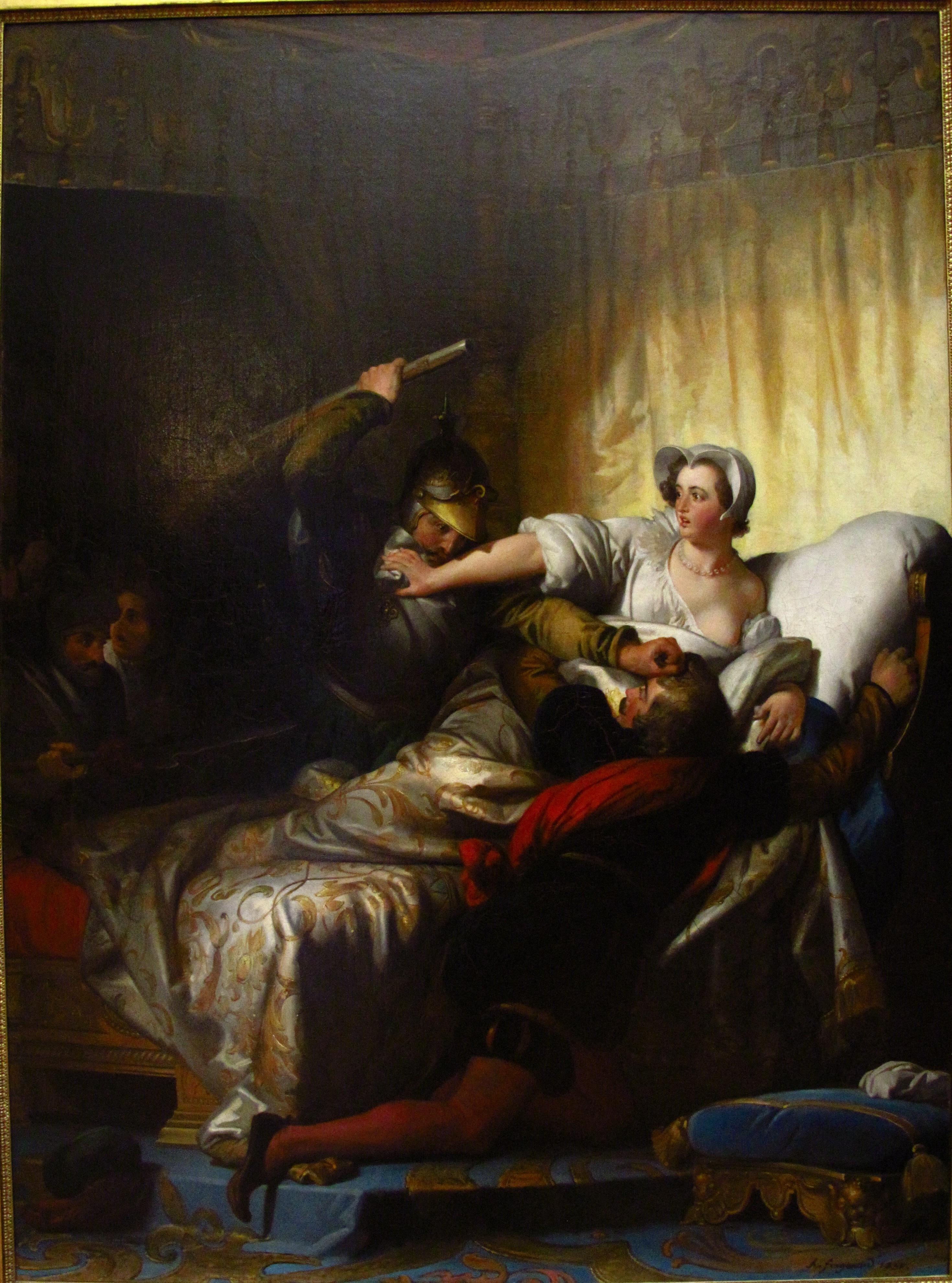 MARGUERITE DE VALOIS Scène dans la chambre durant la Saint Barthélémy par Alexandre-Évariste_Fragonard.jpg