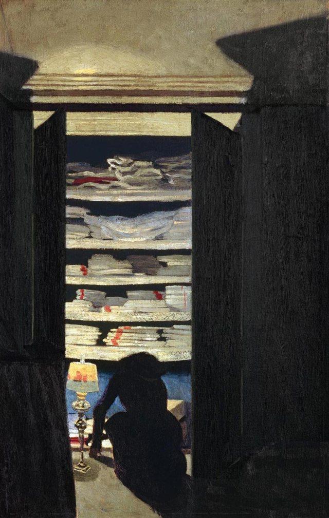 VALLOTTON femme fouillant dans un placard