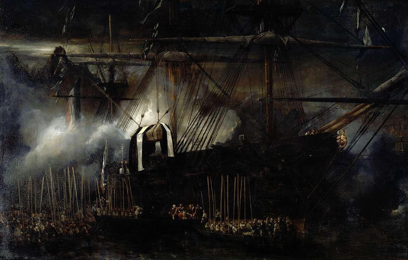 NAPOLEON transfert des cendres de Napoléon à bord de la Belle PouleEugène ISABEY