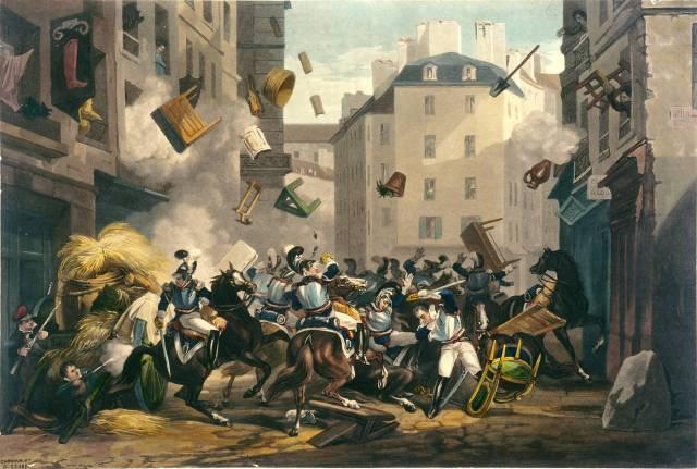 combat et barricade rue St Antoine en Juillet 1830