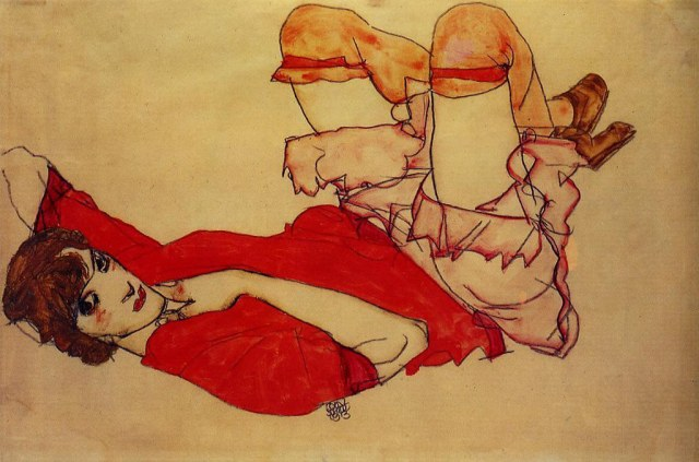 SCHIELE wally en blouse rouge