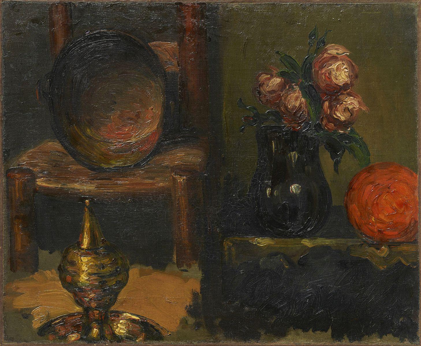 CEZANNE objets en cuivre et vase de fleurs