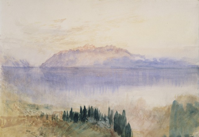 TURNER Le Lac Léman avec la Dent d'Oche au-dessus de Lausanne1841, graphite et aquarelle sur papier,