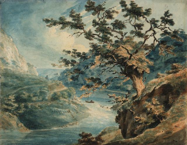 TURNER Vue des gorges de l'Avon, 1791 crayon, encre et aquarelle