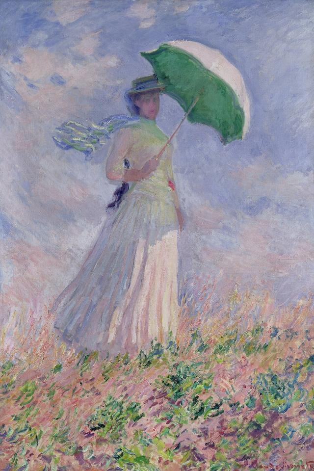 Atelier des lumières Claude MONET Femme à l'ombrelle tournée vers la droite 1886 musée d'Orsay
