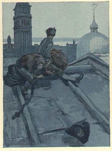 CASANOVA Illustration de Auguste LEROUX pour l' évasion de Casanova et Balbi arrivés sur le toit du Palais des Doges