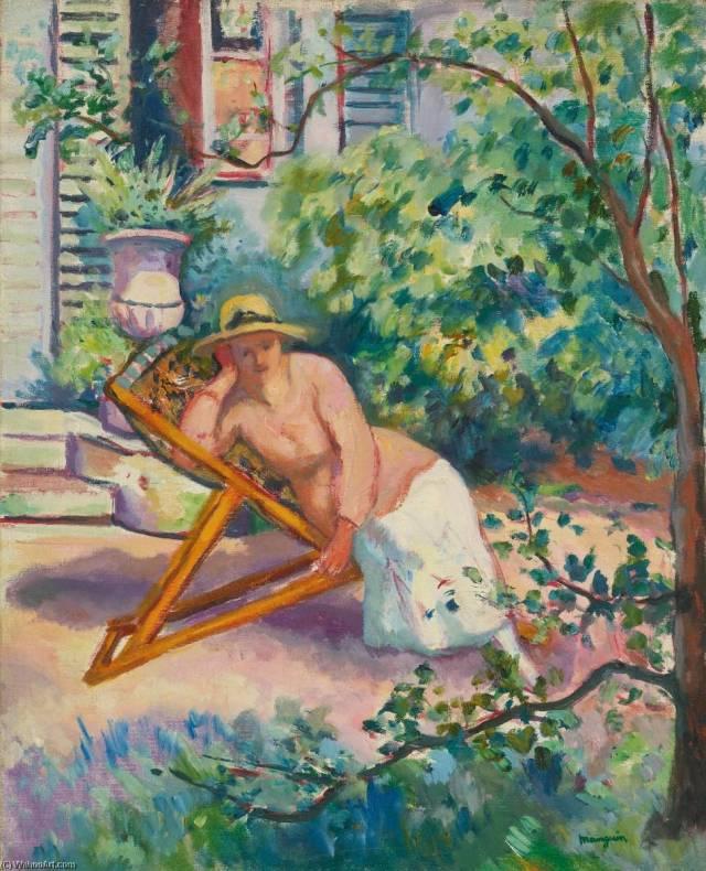 MANGUIN Jeanne dans le jardin de Neuilly 1919
