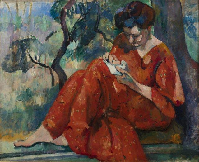 MANGUIN La couseuse à la robe rouge 1905
