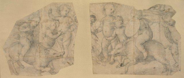 RAPHAEL Deux enfants nus montés sur des sangliers et jouant à la lance en présence de six autres enfants nus