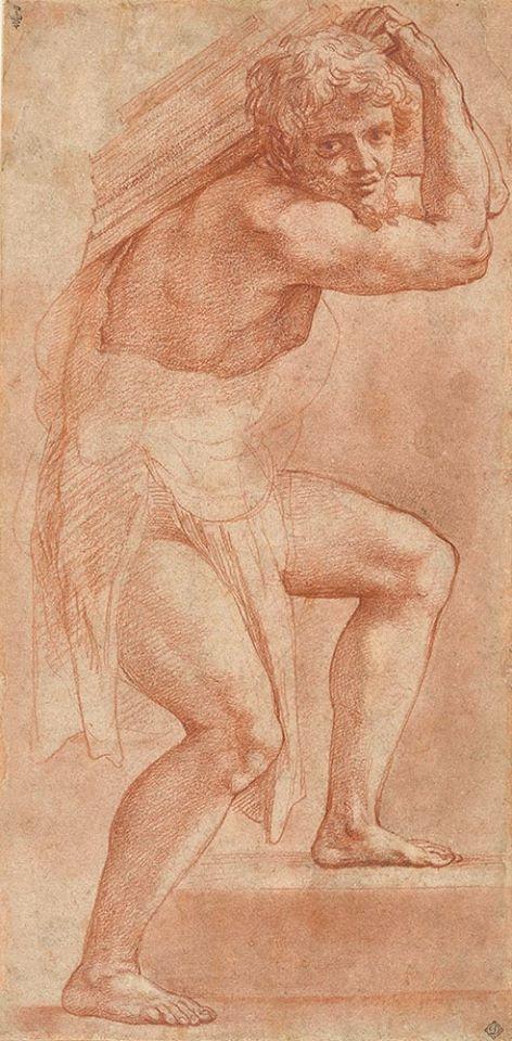 RAPHAEL homme à demi drapé portant fardeau RAPHAEL