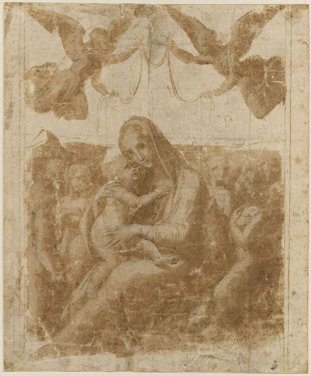 RAPHAEL Madone d'humilité couronnée par deux anges volant et entourée par six autres anges