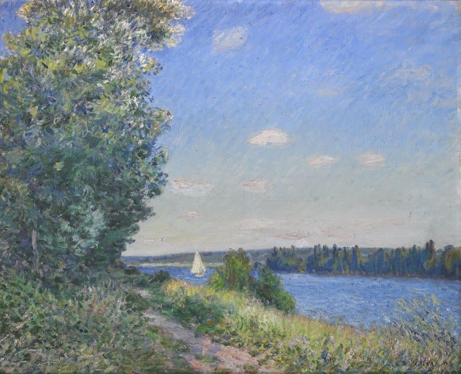 ROUEN sentier au bord de l'eau SISLEY