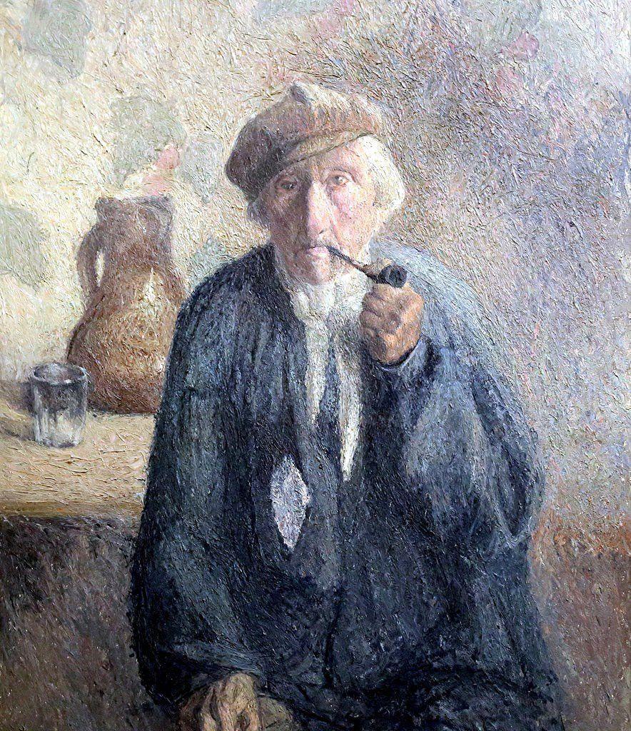 ROUEN Vieux paysan fumant la pipe COUCHAUX
